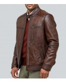 Douglas Waxed Brown Leather Jacket