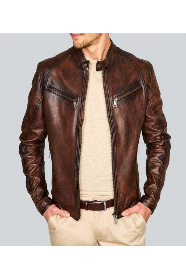 Deans Light Double Tone Waxed Racer Leather Jacket
