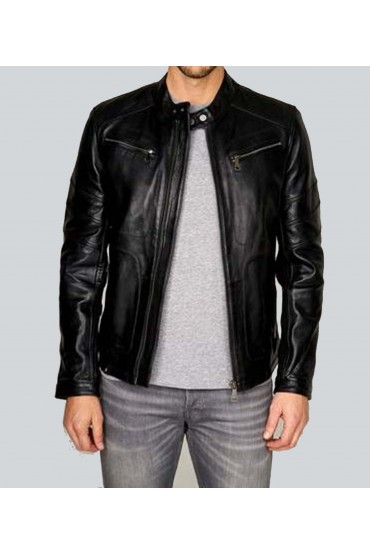 Shawn Detective Classic Black Leather Coat