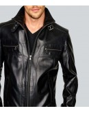 The Knight Shimmer Black Leather Jacket