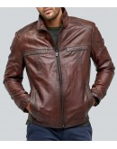 The Ethinic Waxed Brown Casual Leather Jacket