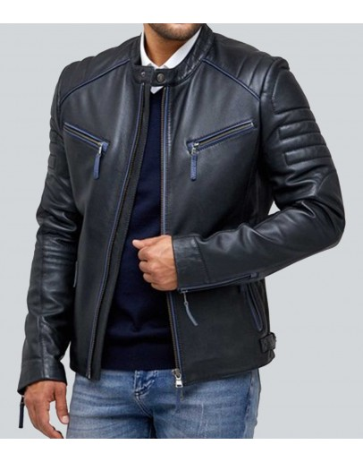 Apollo Blue Cafe Racer Leather Jacket