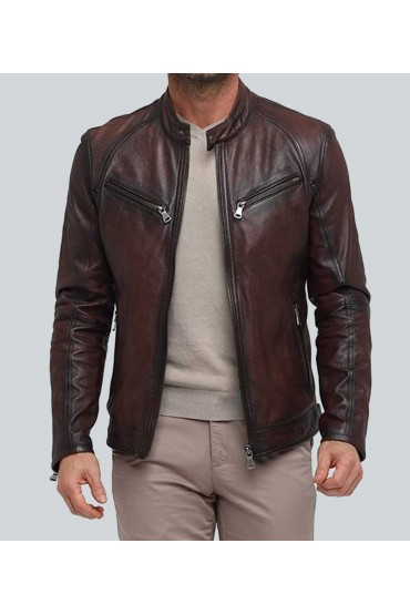 Deans Dark Double Tone Waxed Racer Leather Jacket