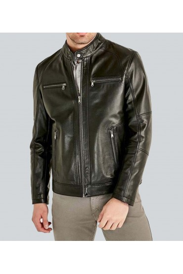 Paisible Casual Black Leather Jacket